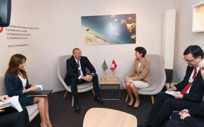 President Ilham Aliyev met with Swiss President Simonetta Sommaruga in Davos