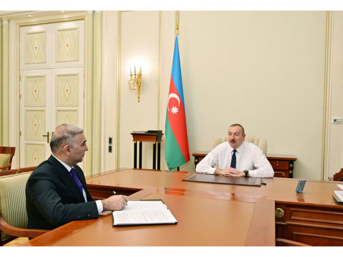 President Aliyev receives Vugar Ahmadov on his appointment as chairman of Azerishig Open Joint Stock Company