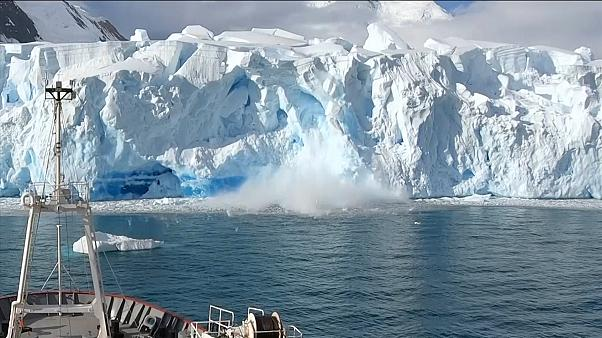 Dramatic glacier collapse in Antarctica as tower block-sized ice mass smashes into sea -  NO COMMENT