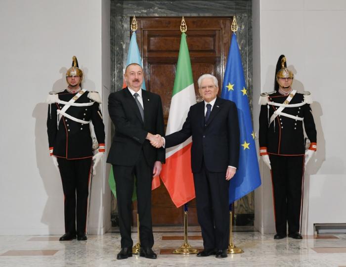 Prezidentin Romada rəsmi qarşılanma mərasimi oldu -  FOTOLAR