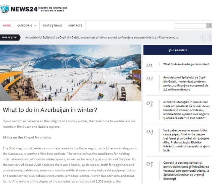 Portal Romanian News24hours destaca el potencial turístico invernal de Azerbaiyán