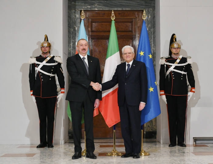 Die offizielle Begrüßungszeremonie für den Präsident fand in Rom statt