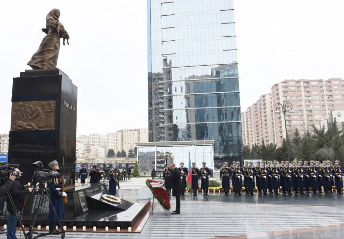 President Ilham Aliyev attends ceremony to commemorate Khojaly genocide victims