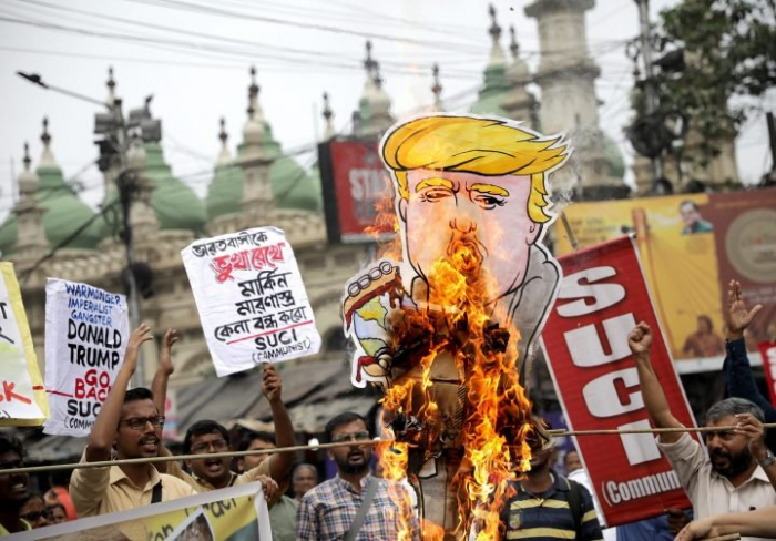Protests in cities across India against Donald Trump visit -   NO COMMENT