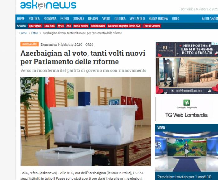 Parliamentary elections in Azerbaijan in spotlight of Italian media