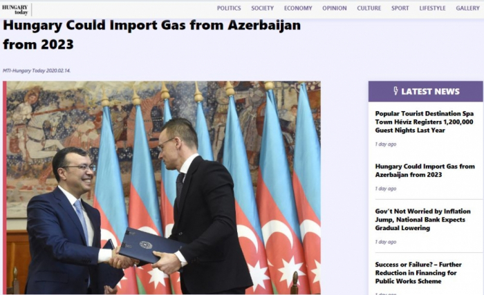 Hungary could import gas from Azerbaijan from 2023