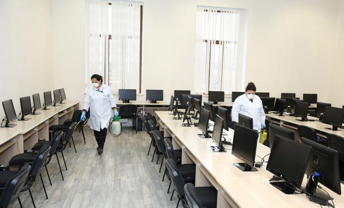 Ali Neft Məktəbi koronavirus əleyhinə dezinfeksiya edildi