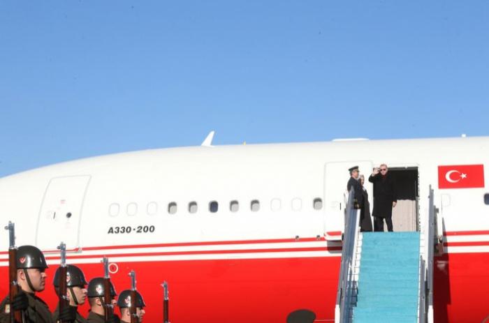 Turkish President Recep Tayyip Erdogan arrives in Azerbaijan for official visit