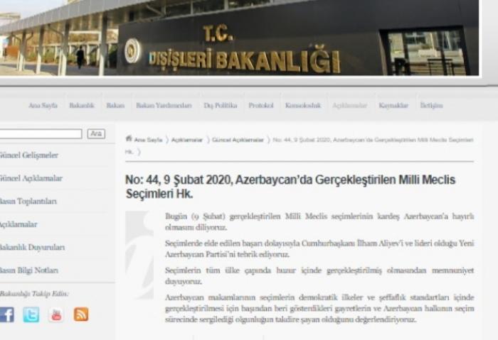 Türkiyə XİN-dən Azərbaycandakı seçkilərə dəstək
