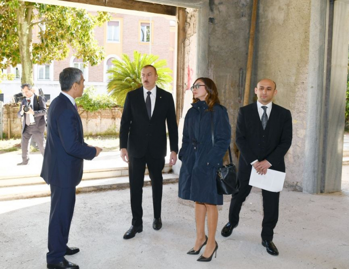 President Ilham Aliyev views building designed to host Azerbaijan Culture Center in Rome