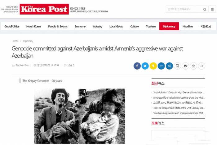 South Korean media highlights Khojaly genocide