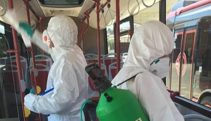 Avtobuslarda dezinfeksiya işləri davam etdirilir