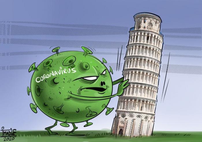 انتشار فيروس كورونا في جميع أنحاء العالم -   كارتون