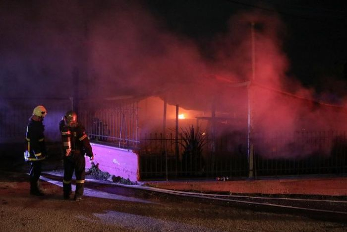 Fire destroys migrant community centre on Lesbos in Greece