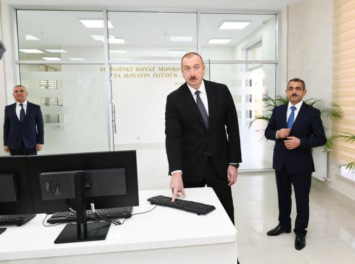 Azerbaijani president attends several openings in Shamkir
