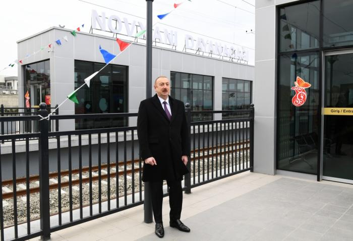 Prezident dəmir yolunun açılışında - FOTOLAR (YENİLƏNİB)