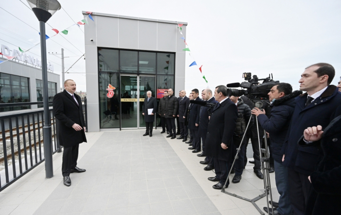 President Ilham Aliyev inaugurates new section of Absheron circular railway after renovation