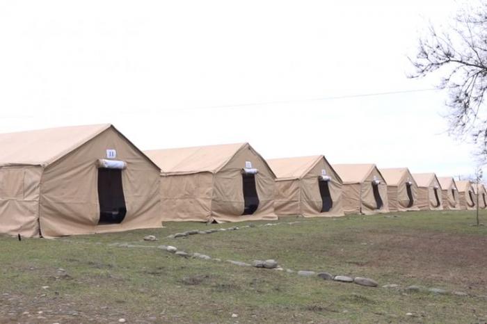 FHN Rusiya ilə sərhəddə çadırlar qurdu - VİDEO