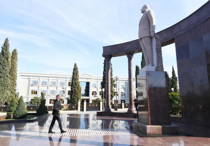 President Ilham Aliyev arrives in Shamkir district for visit