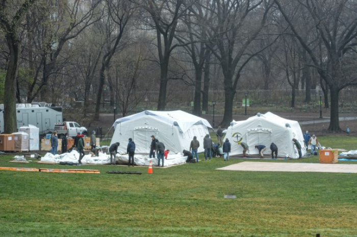 Field hospital to treat COVID-19 patients under construction in New York's Central Park