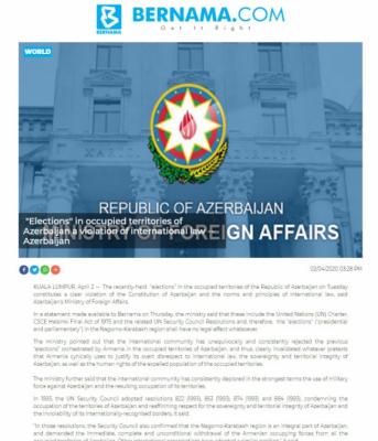 """BERNAMA:   """"Las elecciones"""" en los territorios ocupados de Azerbaiyán son una violación del derecho internacional-Azerbaiyán"""