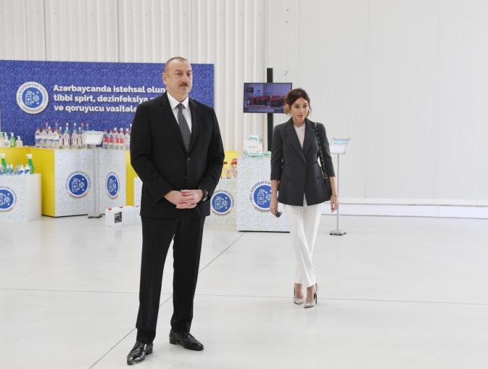 Prezident və xanımı tibbi maska istehsalı müəssisəsinin açılışında - FOTOLAR