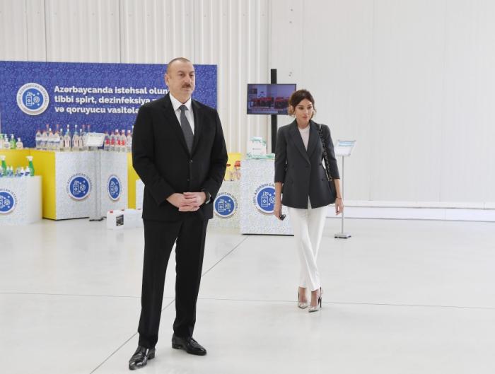 President Ilham Aliyev, First Lady Mehriban Aliyeva attend opening of medical masks manufacturing - PHOTOS