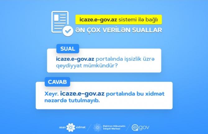 """""""icaze.e-gov.az""""da işsizliyin qeydiyyatı nəzərdə tutulmayıb - Suallara cavab"""