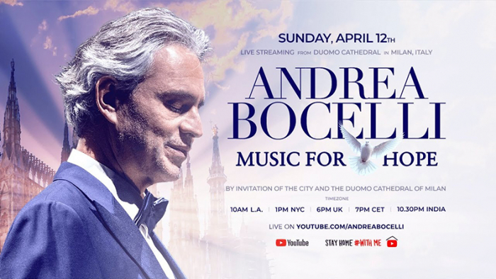 Andrea Bocelli to offer Easter concert streaming on  YouTube