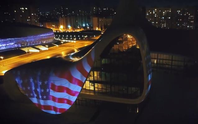 Heydar Aliyev Center supports USA amid COVID-19 outbreak - VIDEO