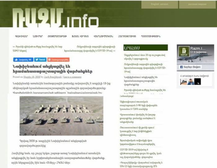 Naxçıvandakı hərbi təlimlər erməniləri təşvişə salıb