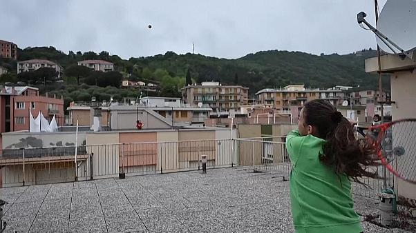 Advantage innovation! Tennis players take to roof for practice amid coronavirus lockdown -  NO COMMENT