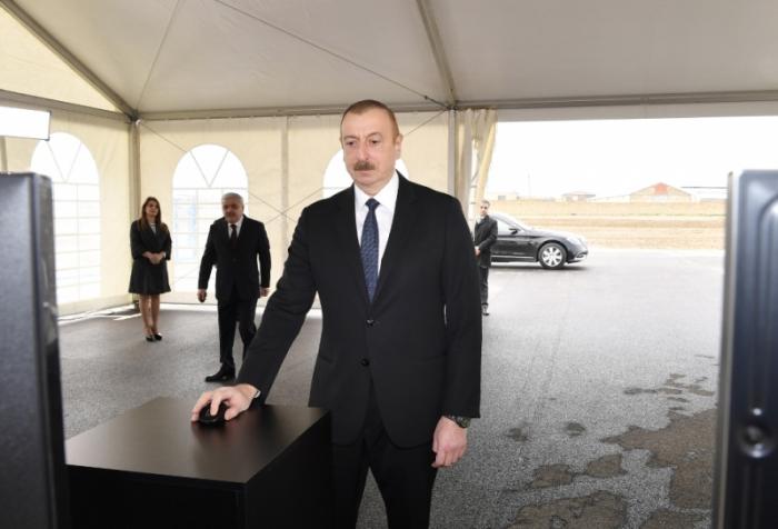 Prezident Sumqayıta çəkilən qaz kəmərinin açılışında - FOTOLAR (YENİLƏNİB)