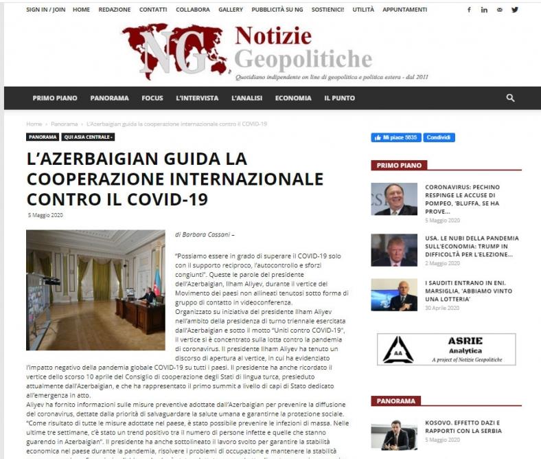 Azərbaycan beynəlxalq əməkdaşlığa liderlik edir - İtaliya mətbuatı yazır
