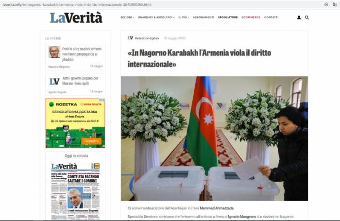 İtaliya KİV-ləri Qarabağ münaqişəsindən yazdı