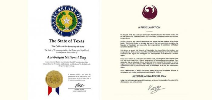 """El 28 de mayo es declarado el """"Día Nacional de Azerbaiyán"""" en Texas y Arizona"""