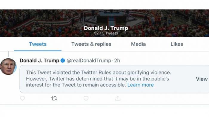 Twitter hides Trump tweet for