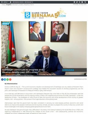 BERNAMA: Azerbaijan continues to progress and develop despite past difficulties