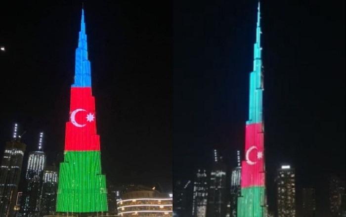 Bayrağımız dünyanın ən hündür binasında əks olundu -  FOTO
