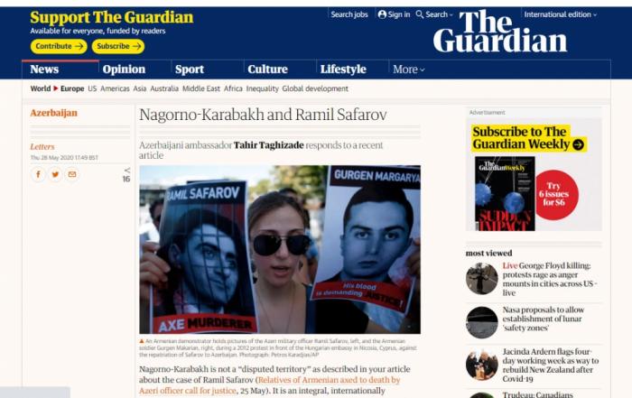 """""""The Guardian"""" publicó un artículo titulado """"Nagorno-Karabaj y Ramil Safarov"""""""
