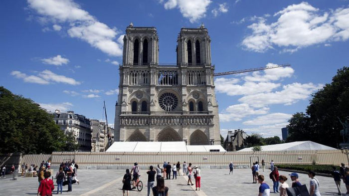 Notre Dame forecourt reopens to public after long cleanup delayed by coronavirus
