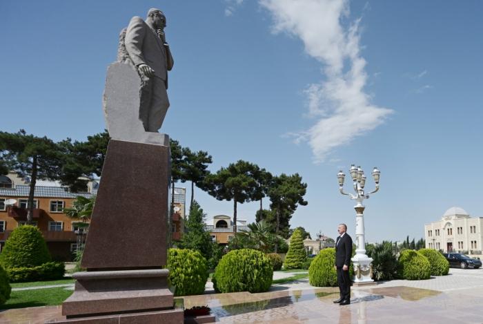 Präsident Ilham Aliyev kommt zu Besuch in den Bezirk Aghjabadi