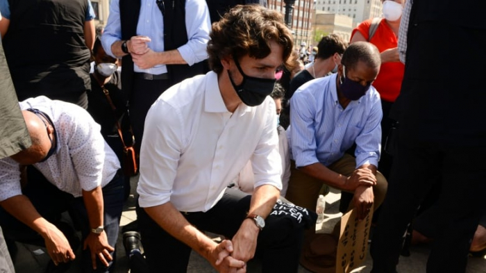 Justin Trudeau takes a knee at anti-racism protest in Ottawa –  VIDEO