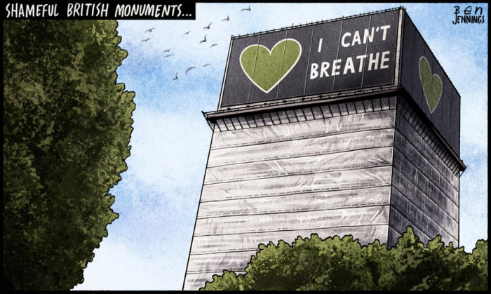Ben Jennings on Grenfell Tower and the Black Lives Matter protests –  CARTOON
