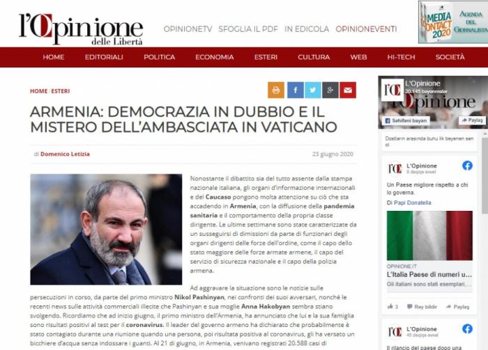 الصحافة الإيطالية تنشر مقالاً يفضح جوهر نظام باشينيان