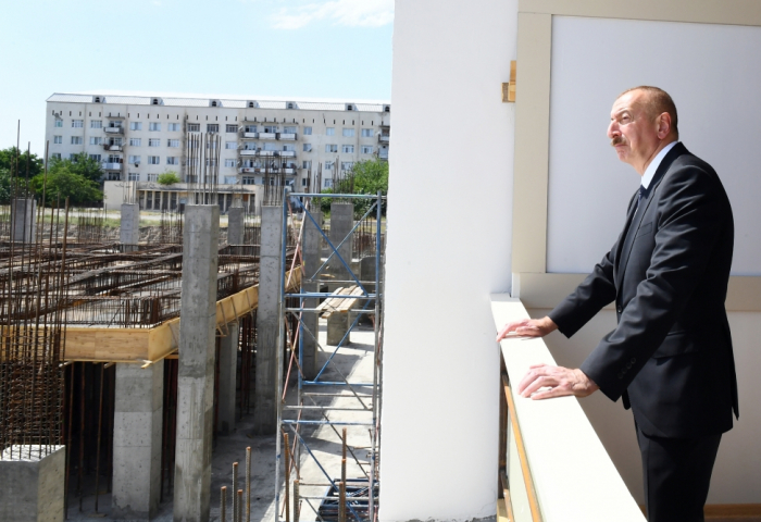 Ilham Aliyev reviewed construction of Ganja Sports Palace -  PHOTOS