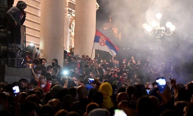 Violence at Belgrade protest over renewed lockdown measures