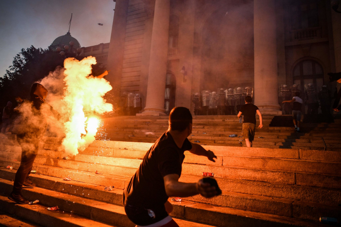 Serbia protests meet violent response in  Europe