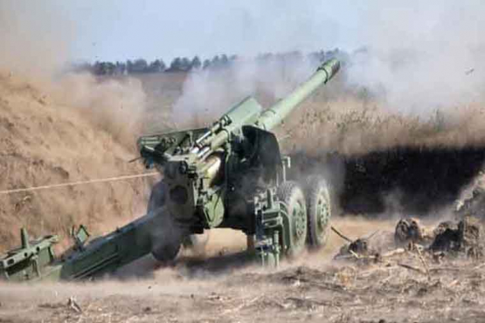 Armenian army fires at Azerbaijani villages by using large-caliber howitzer
