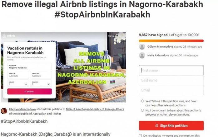 Azerbaijanis in Hungary launched petition to protest advertising occupied territories on Airbnb
